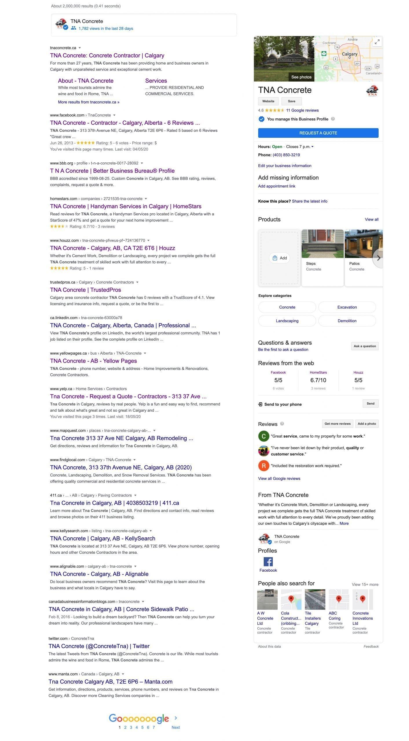 Screenshot Of TNA Concrete Google Results